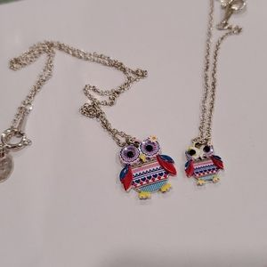 Children's necklace and bracelet set w/ owl charms